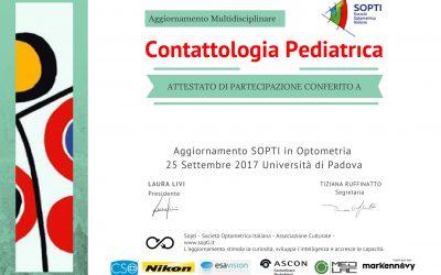 ATTESTATO – Aggiornamento in Contattologia Pediatrica – Multidisciplinare – Settembre 2017